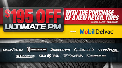 Purchase New Tires and Get $195 Off Your Next Ultimate PM