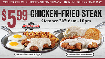 Chicken Fried Steak day is October 26!