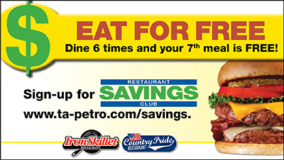 Dine 6 times at Country Pride or Iron Skillet and your 7th meal is FREE!