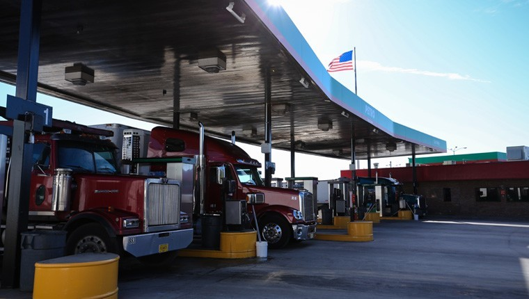 trucks at a fuel island
