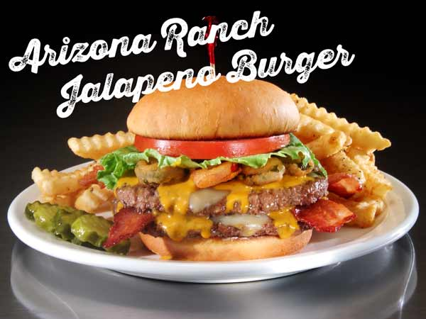 Arizona Ranch Jalapeno Burger with fries