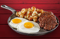 Breakfast Sausage & Eggs skillet combo with fresh eggs and home fries