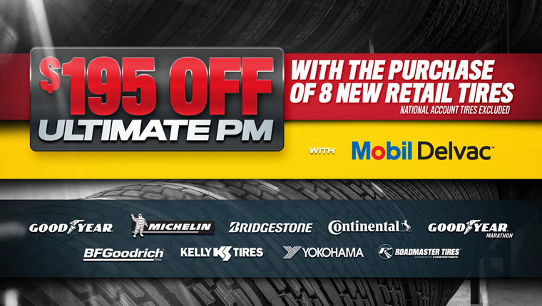 Get $195 off a Mobil Delvac Ultimate PM with purchase of eight new tires at TA Truck Service.