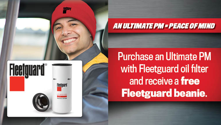 Truck driver with Fleetguard beanie hat