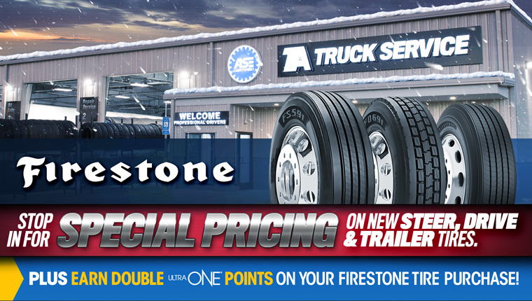 Get new trailer, steer and drive tires for limited time low prices at TA Truck Service.