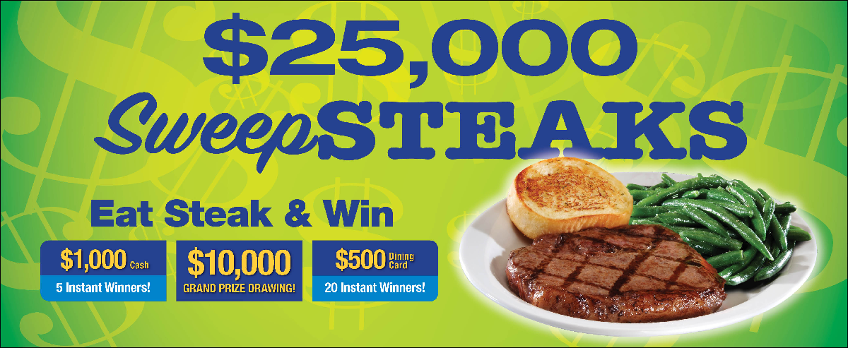sweepsteaks promotion at Iron Skillet and Country Pride