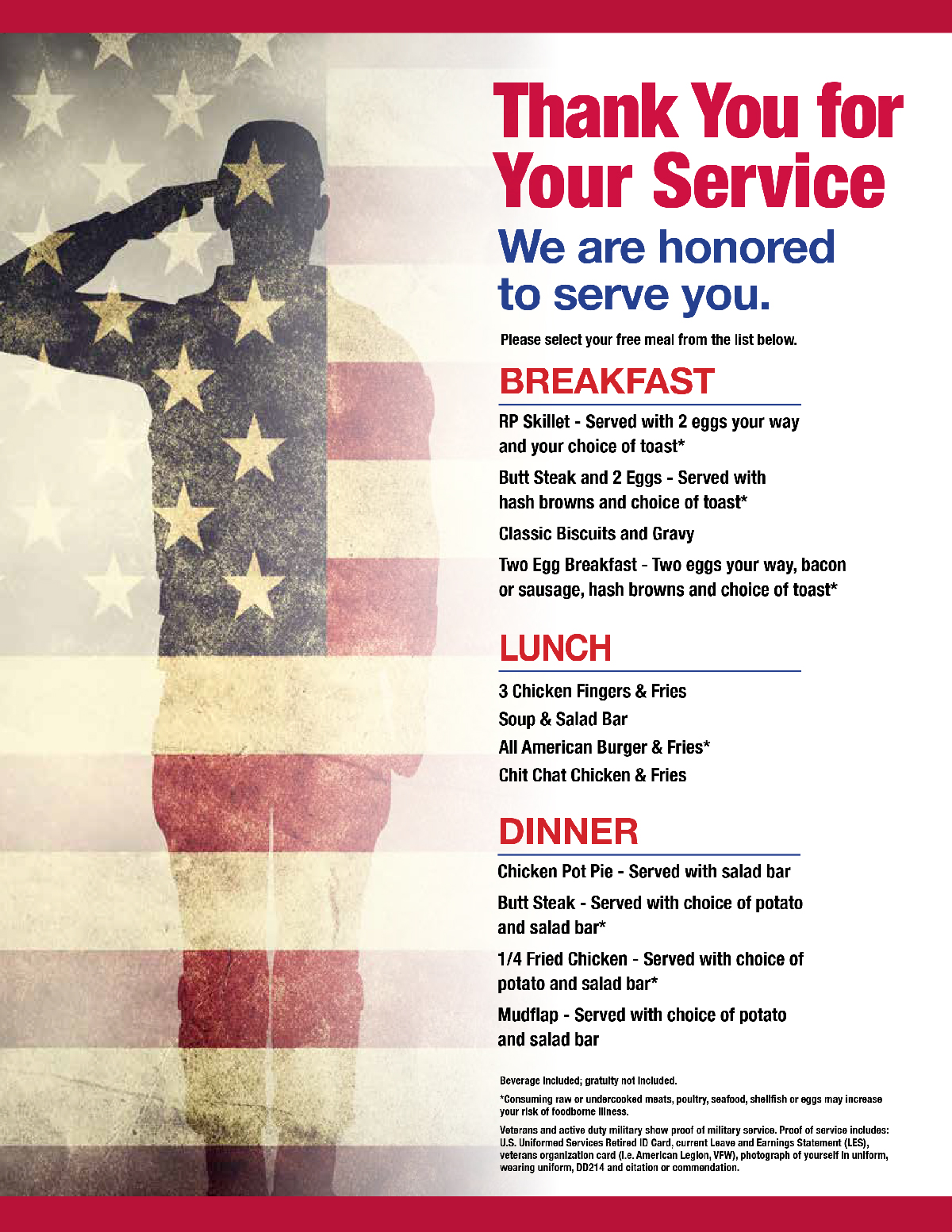 4th of July Veterans & Active Military Eat FREE