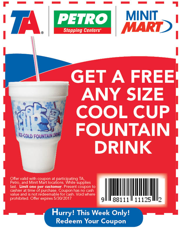 Free Cool Cup Fountain Drink at TA, Petro, and Minit Mart Locations - Coupon expires 5/30