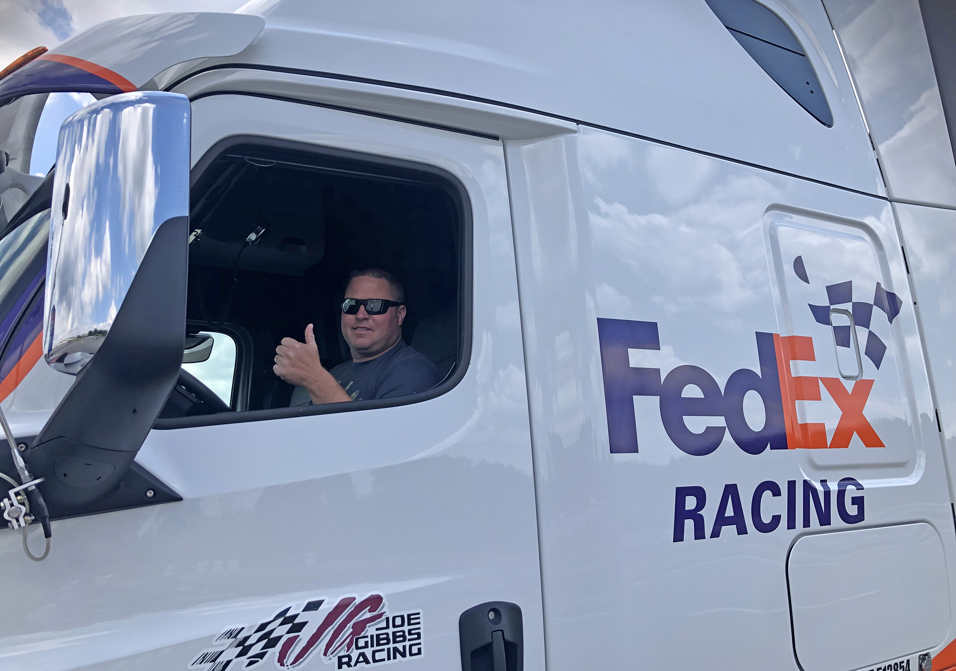 Josh Collins, hauler driver for Denny Hamlin's No. 11 FedEx Cup car.