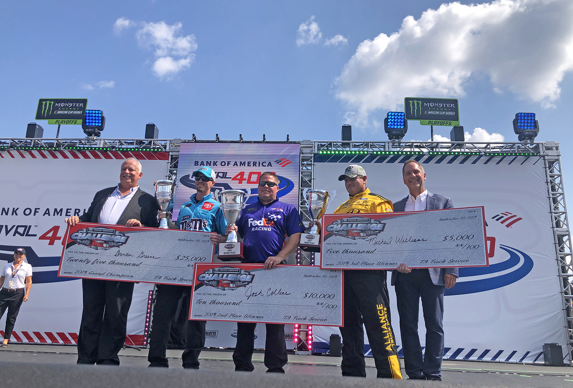 2019 TA Truck Service Challenge Grand Champion, second place and third place winners on podium.