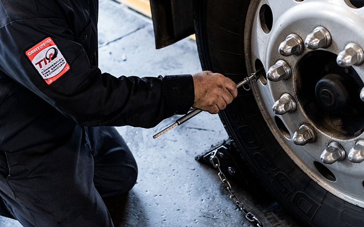 Commercial tire pressure check.
